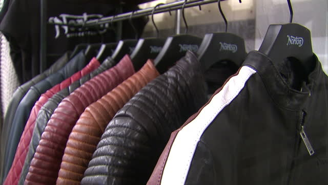 interior shots of motorcycle jackets and other clothing on display in the norton clothing store in soho>> on november 24 2016 in london england - leather jacket stock videos and b-roll footage