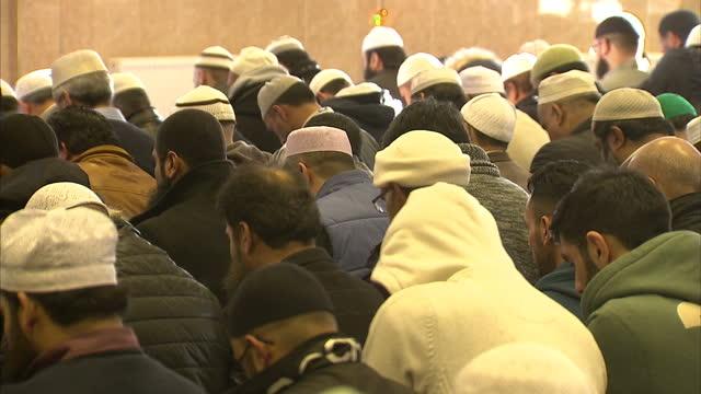 Interior shots of muslim men at prayer inside Leeds Mosque at Friday prayers on January 30 2015 in London England