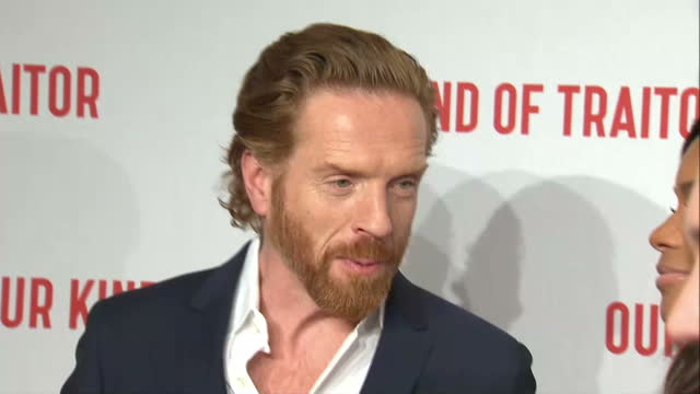 Interior shots of Naomie Harris and Damian Lewis speaking to reporters on the red carpet at the premiere of 'Our Kind of Traitor'>> on May 05 2016 in...