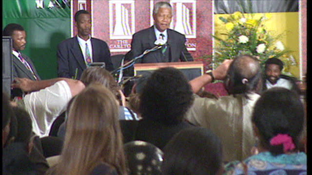 Interior shots of Nelson Mandela speaking at an ANC election victory celebration on May 02 1994 in Durban South Africa