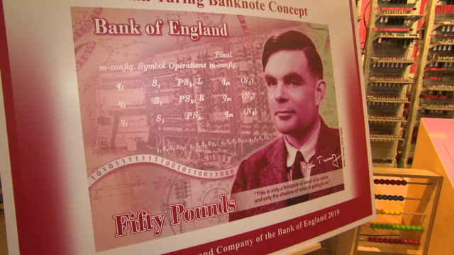 interior shots of new design with alan turing as the new face of the bank of england's £50 note on 15th july 2019 in manchester england - alan turing stock videos & royalty-free footage