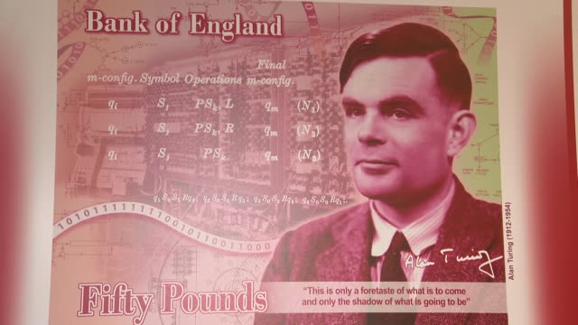 stockvideo's en b-roll-footage met interior shots of new design with alan turing as the new face of the bank of england's £50 note on 15th july 2019 in manchester, england. - alan turing