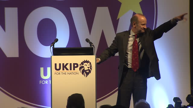 Interior shots of new UKIP leader Henry Bolton walking to podium to applause at the party's annual conference on 29th September 2017 in Torquay...