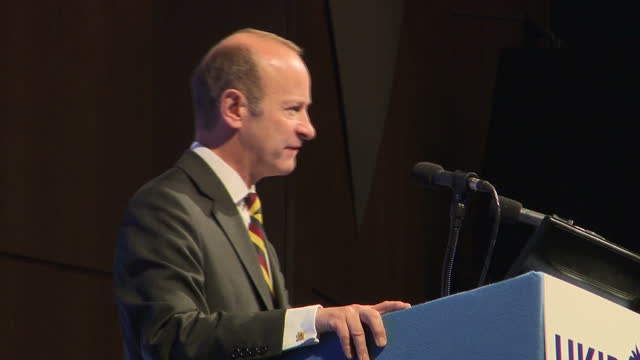 Interior shots of newly elected UKIP leader Henry Bolton walking on stage and addressing party members and supporters at the UK Independence Party...