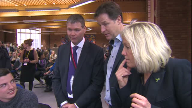 interior shots of nick clegg and tessa munt speaking to staff and students at strode college.>> on march 16, 2015 in street, england. - british liberal democratic party stock videos & royalty-free footage
