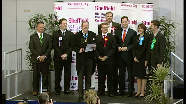 interior shots of nick clegg mp being declared winner of the sheffield hallam constituency during the 2010 general elections on may 07, 2010 in... - british liberal democratic party stock videos & royalty-free footage