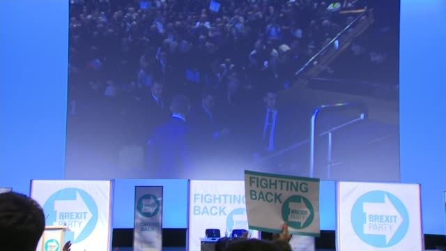 interior shots of nigel farage at the launch rally for the brexit party walking onto stage to applause and speaking on 13 april 2019 in birmingham,... - brexit party stock videos & royalty-free footage