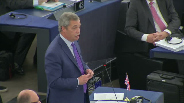 interior shots of nigel farage mep sitting in the european union parliament and giving speech on april 05, 2017 in strasbourg, france. nigel farage... - mep stock videos & royalty-free footage