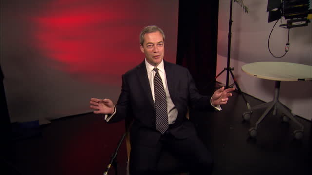interior shots of nigel farage, mep walking to millbank studios and sit down for interview on january 04, 2017 in london, england. - mep stock videos & royalty-free footage