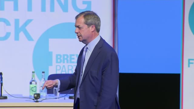 interior shots of nigel farage speaking at the launch rally for the brexit party on 13 april 2019 in birmingham united kingdom - launch event stock videos & royalty-free footage