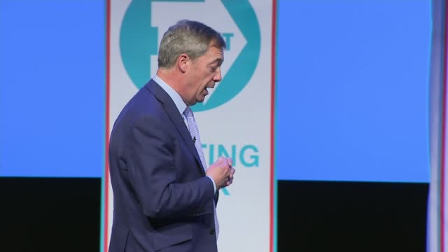interior shots of nigel farage speaking at the launch rally for the brexit party on 13 april 2019 in birmingham, united kingdom - brexit party stock videos & royalty-free footage