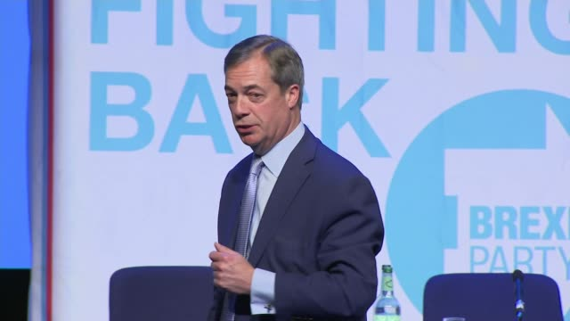 interior shots of nigel farage speaking at the launch rally for the brexit party closes his speech to cheering and applause and walks off stage on 13... - launch event stock videos & royalty-free footage