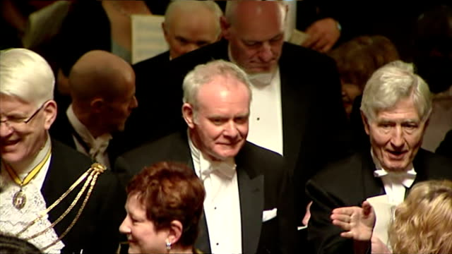 Interior shots of Northern Irelands Deputy First Minister Martin McGuinness speaking to other guests at Banquet hosted by Queen Elizabeth II and...