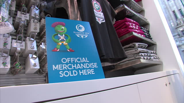 Interior shots of official Glasgow 2014 Commonwealth Games merchandise on display in the visitors centre on Buchanan Street Official merchandise...