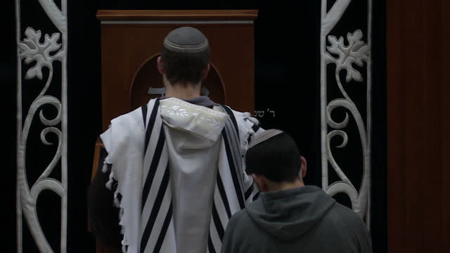 interior shots of orthodox jewish men in a synagogue studying and praying on 15 february 2017 in ramallah israel - judaism stock videos & royalty-free footage