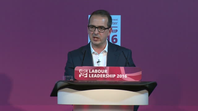 interior shots of owen smith mp speaking during a debate for the labour leadership debate re two thirds of the country didn't want jeremy corbyn as... - owen smith politician stock videos & royalty-free footage
