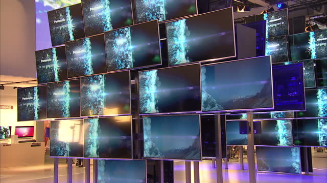 interior shots of panasonic smartviera 4k ultra hd tvs on display at the ifa trade show in berlin panasonic 4k tv display at a trade show on... - hd format stock videos & royalty-free footage