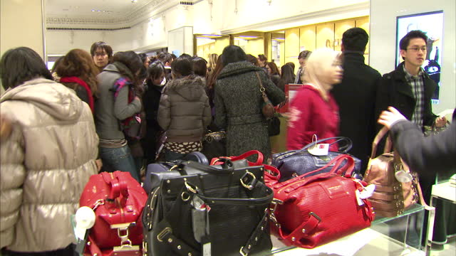 Interior shots of people at the Harrods sale handbags department Harrods Sale Interior Shots at Harrods Department Store on December 29 2010 in...
