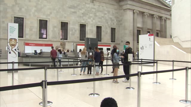 interior shots of people in a queue at the entrance desks to the british museum after its re-opening on 27 august 2020 in london, united kingdom - british museum stock videos & royalty-free footage