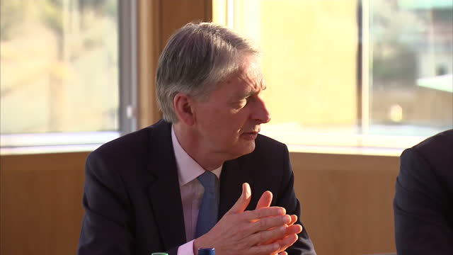 interior shots of philip hammond chancellor of the exchequer visiting the environmental centre in scotland to discuss brexit proposals for scotland... - chancellor of the exchequer stock videos and b-roll footage