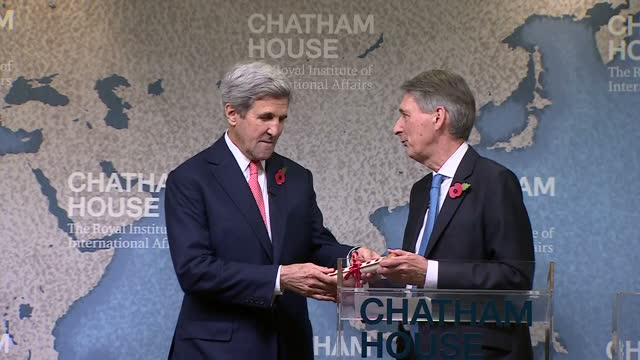 Interior shots of Philip Hammond presenting the Chatham house prize to the US Secretary of State John Kerry on October 31 2016 in London England