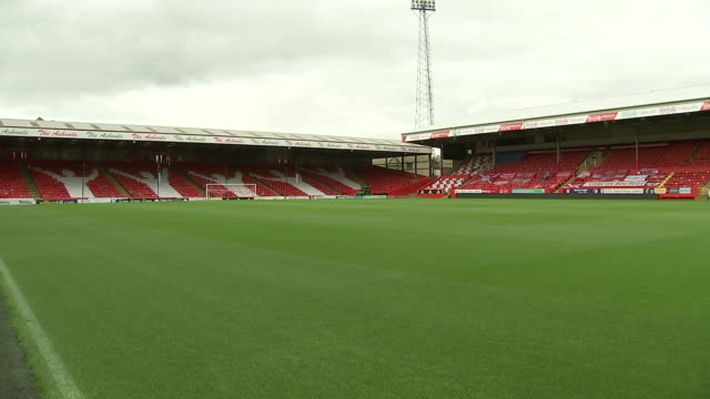 interior shots of pittodrie stadium with seats sealed off due to covid19 rules. - torschuss stock-videos und b-roll-filmmaterial