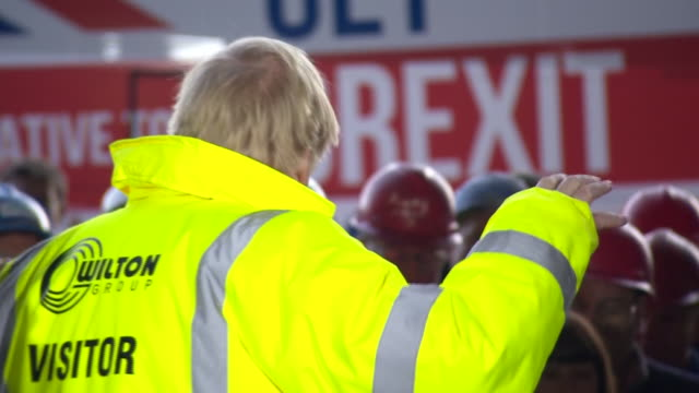 interior shots of pm boris johnson answering question on immigration during his visit to wilton engineering services on november 20, 2019 in... - emigration and immigration stock videos & royalty-free footage