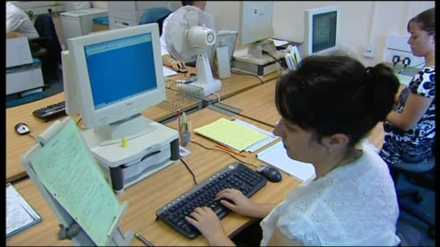interior shots of police at work in the incident room on computers investigating the murder of 11yearold rhys jones on 24 august 2007 in liverpool... - merseyside stock videos & royalty-free footage