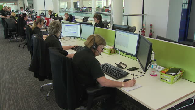 interior shots of police working in the control room at durham police headquarters on march 02 2017 in durham england - control room stock videos & royalty-free footage