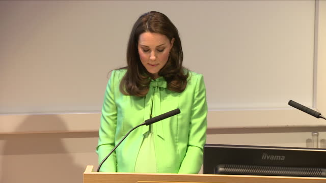 stockvideo's en b-roll-footage met interior shots of pregnant kate middleton speaks regarding parenting during the royal foundation conference at the royal society of medicine on 21st... - ruw materiaal