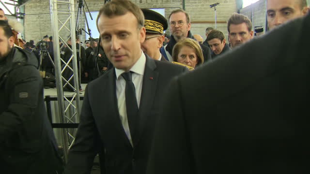 Interior shots of President Emmanuel Macron speaking to members of the police after giving a speech at the CAES reception centre on January 16 2018...