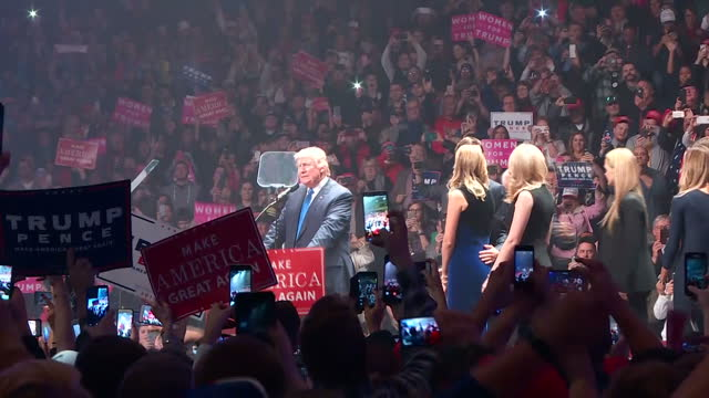 Interior shots of Presidential candidate Donald Trump arriving to applause on stage and addressing supporters on November 8 2016 in New Hampshire...