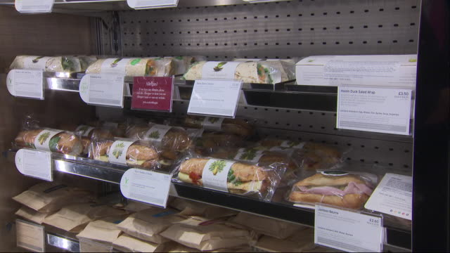 interior shots of pret a manger sandwich's and food packaging with allergy advice and ingredients in a store on june 25 2019 london england - nutrition label stock videos and b-roll footage