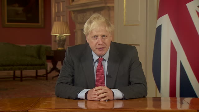 interior shots of prime minister, boris johnson address to the nation as he introduces further lockdown restrictions as covid-19 cases continue to... - announcement message stock videos & royalty-free footage