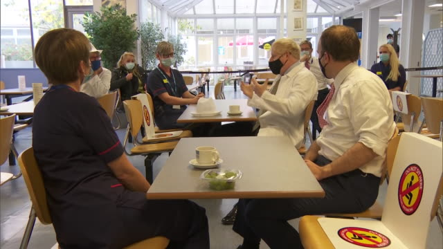 interior shots of prime minister boris johnson on a visit to the royal berkshire hospital with prue leith, meeting chefs and hospital staff, as the... - prudence leith stock videos & royalty-free footage