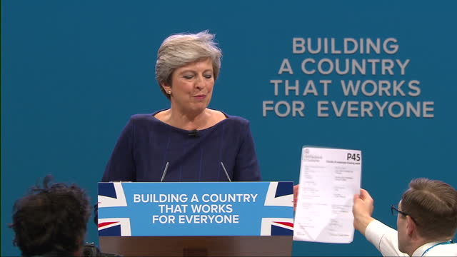 interior shots of prime minister theresa may addressing the conservative party conference and being interrupted as comedian simon brodkin also known... - simon brodkin comedian stock videos and b-roll footage