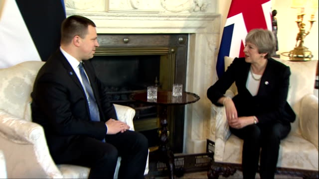 Interior shots of Prime Minister Theresa May meeting with Estonian Prime Minister Jüri Ratas at Number 10 Downing Street>> on January 30 2018 in...