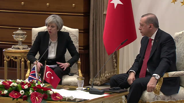 Interior shots of Prime Minister Theresa May speaking at a press conference with President Recep Tayyip Erdogan of Turkey sat to one side on January...
