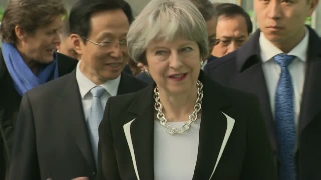 interior shots of prime minister theresa may touring the national agricultural science and technology demonstration park >> on february 01 2018 in... - theresa may stock-videos und b-roll-filmmaterial
