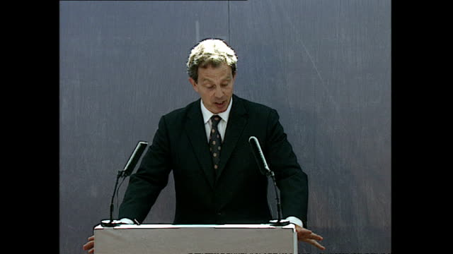 Interior shots of Prime Minister Tony Blair giving a speech during his visit to the Aylesbury council estate in Southwark on June 02 1997 in London...