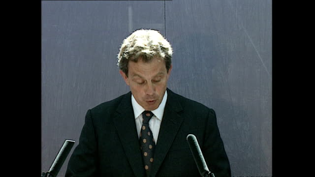 Interior shots of Prime Minister Tony Blair giving a speech during his visit to the Aylesbury council estate in Southwark>> on June 02 1997 in London...