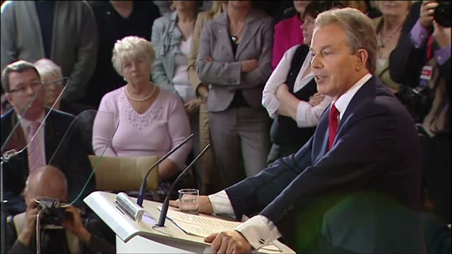 interior shots of prime minister tony blair making a speech to the trimdon labour club announcing his intention to resign on 10 june 2007 in... - 2007 stock videos and b-roll footage