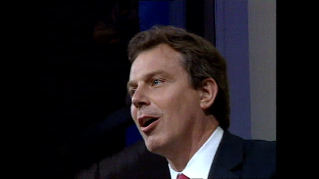 interior shots of prime minister tony blair making a victory speech at the labour party celebration party at royal festival hall after their... - 1997 stock videos & royalty-free footage