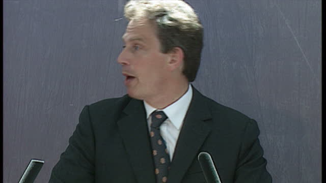 Interior shots of Prime Minister Tony Blair making a 'welfare to work' speech at a community centre on 2 June 1997 in London United Kingdom