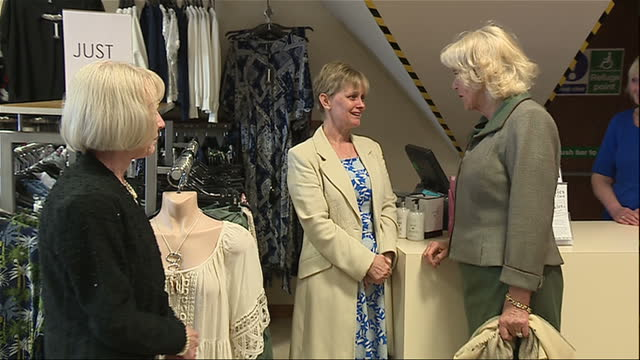 Interior shots of Prince Charles and Camilla Duchess of Cornwall touring a homewares shop on 28 April 2017 in Ballater United Kingdom