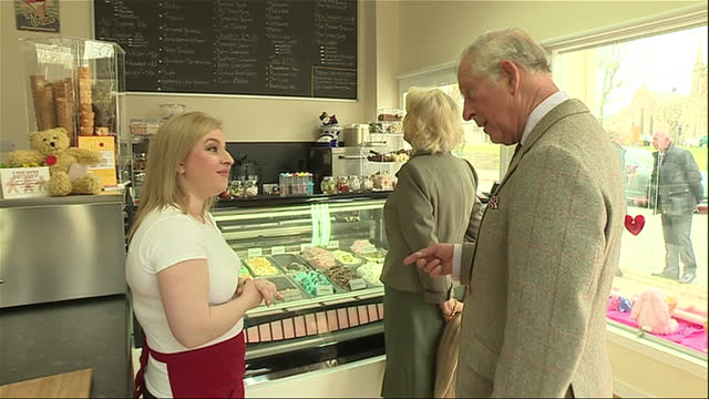 Interior shots of Prince Charles and Camilla Duchess of Cornwall visiting an ice cream parlour and sampling ice creams on 28 April 2017 in Balloter...