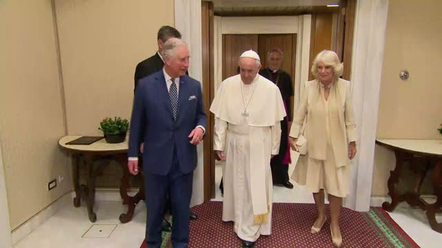 interior shots of prince charles and camilla duchess of cornwall arriving and being greeted by pope francis during a visit to the vatican on april 04... - pope stock videos & royalty-free footage