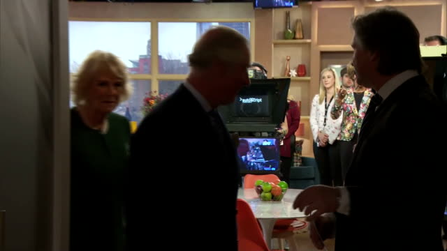 Interior shots of Prince Charles and Camilla Duchess of Cornwall visiting the set of This Morning during a visit to ITV Studios and meeting...