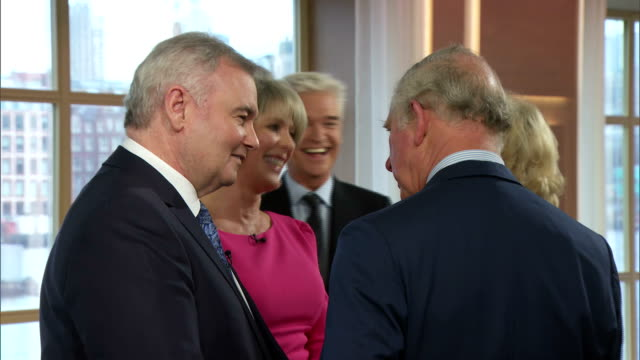 interior shots of prince charles and camilla duchess of cornwall speaking to eamonn holmes and ruth langsford with phillip schofield and holly... - phillip schofield stock videos & royalty-free footage
