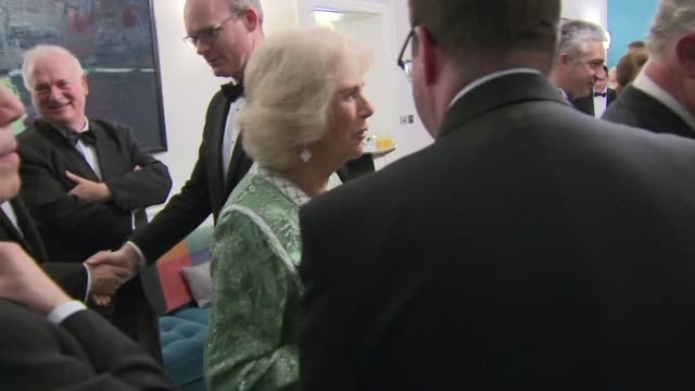 interior shots of prince charles and camilla duchess of cornwall mingling with guests at the iirsh embassy for an early st patrick day dinner -... - dara o'briain stock videos & royalty-free footage
